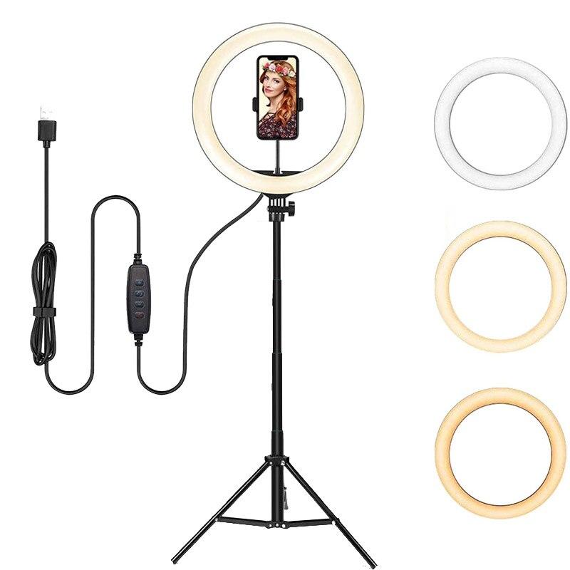 H7e2fc77e990942208c34b175d8623d2eE Video Lights Dimmable Light Selfie LED Ring Light USB Ring Lamp With Tripod Stand Rim Of Light To Make TikTok Youtube ringlight