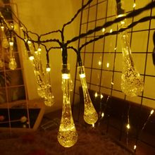 5M LED Fairy Water Drop Garden Courtyard Solar Lights String Outdoor Waterproof Christmas Party Wedding Home Decoration