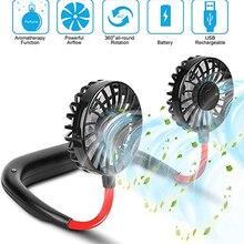 Portable Fan Cold-Fan-Hands Hanging Dual-Fan Free-Neck-Fan 3-Speed Mini USB Office Home
