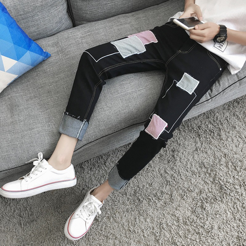 Korean-style Teenager Students Trend Handsome Slim Fit Skinny Pants Summer New Style Casual Capri Pants MEN'S Jeans