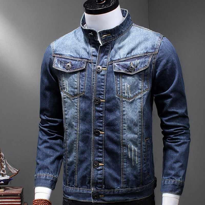 Klasyczne męskie Retro sprane dżinsy stoją kołnierz dorywczo mężczyzna jeansowa kurtka Trucker Biker kurtka motocyklowa ubranie wierzchnie w rozmiarze slim fit Plus rozmiar