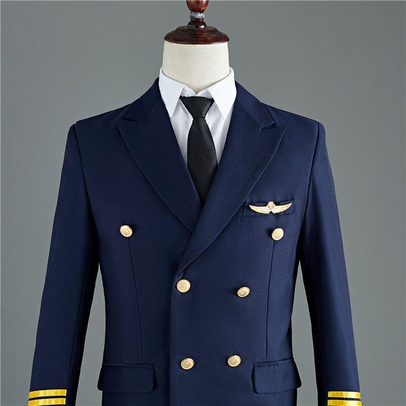 Suit Men Wedding Mens Tuxedo Jacket Suits Navy Homme Pants PYJTRL Fit Slim And Captain Costume Party Blue Groom Black Two-piece