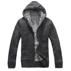 Image 3 - Manteau en pull épais pour hommes, vêtement dextérieur en laine polaire, col en cachemire, collection pull avec fermeture à glissière, automne et hiver