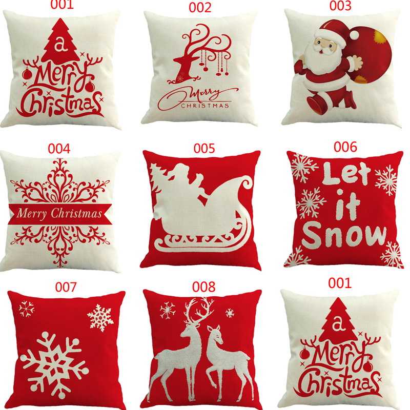 CHRISTMAS  Home Bed Christmas Cotton Linen Dustproof Washable Removable S Christmas Gift Size 45x45cm