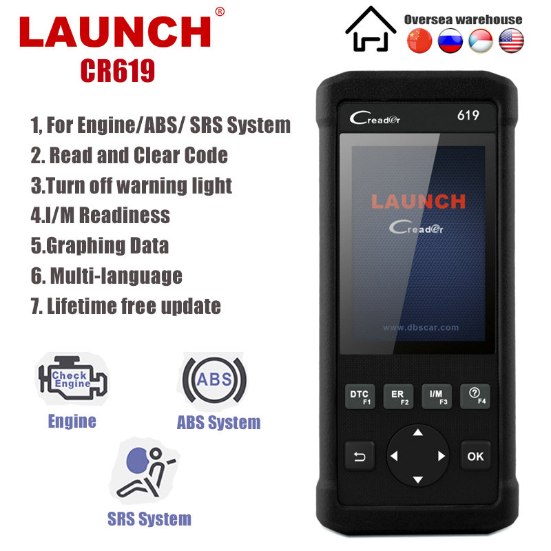 Launch CR619 OBD2 Scanner Engine ABS SRS ODB2 Scan Tool Multi-language Launch OBDII Code Reader Car Diagnostic Tool Free Update