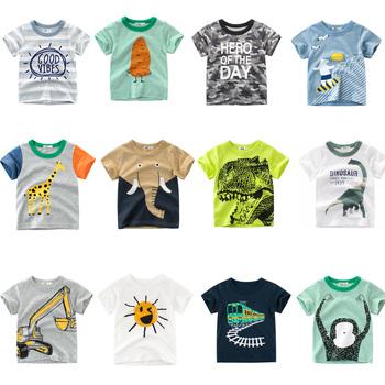 Chłopcy i dziewczęta t-shirty z kreskówek t-shirty z nadrukiem dinozaura dla dzieci T-shirt z krótkim rękawem dla dzieci tanie i dobre opinie JOYHOPY POLIESTER COTTON moda Stałe REGULAR Z okrągłym kołnierzykiem tops Z KRÓTKIM RĘKAWEM krótkie Dobrze pasuje do rozmiaru wybierz swój normalny rozmiar