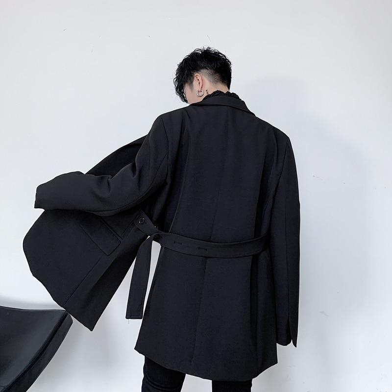 Men Belt Casual Suit Coat Male Retro Fashion Japan Streetstyle Blazer Jacket Outerwear