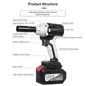 """30000mAh Cordless Electric Impact Wrench 1/2\"""" Square Socket Sets 380N.m Max Torque Rechargeable Impact Nut Wrench Power Tools"""