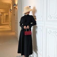 Oversized Black Vintage Dress Women Long Flare Sleeve Big Swing Women Dresses Midi Corset Autumn Winter Dress Women Plus Size black swing long sleeve dress