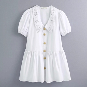 2020 Women Sweet Hollow Out Embroidery Collar White A Line Dress Female Puff Sleeve Breasted Vestidos Chic Poplin Dresses DS3614