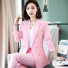 Новая мода Бизнес интервью женские брюки костюмы размера плюс рабочая одежда офисная Дамская одежда с длинным рукавом Тонкий формальный Блейзер и брюки комплект
