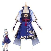 Jogo genshin impacto kamisato ayaka cosplay traje feminino bonito vestido shenlilinghua roupas halloween carnaval uniforme feito sob encomenda
