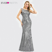 Sequined Evening Dresses 2020 Ever Pretty EP07551 Elegant Mermaid Long O Neck Backless Sliver Formal Party Gowns Robe De Soiree