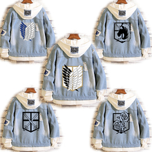 2020 Attack on Titan Jeans Jacket Scout Regiment Cosplay Denim Jacket Autumn Eren Jager Hooded Sweatshirt Outwear Coat