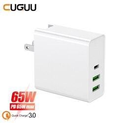 QC 3.0 Quck 65W PD Carga Carregador USB Para Interruptor Macbook Tipo C Carregador Rápido Para iPhone Para Samsung xiaomi Carregador de Parede Adaptador
