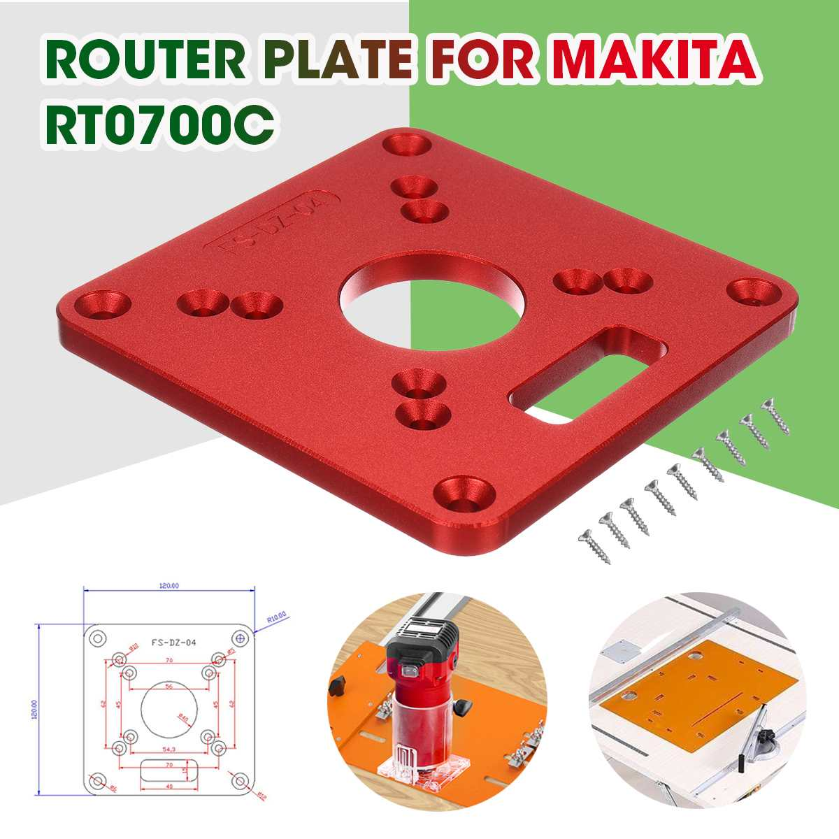 120x120mm Woodworking Aluminum Alloy Router Table Insert Plate Mounting Base Plate For MAKITA RT0700C