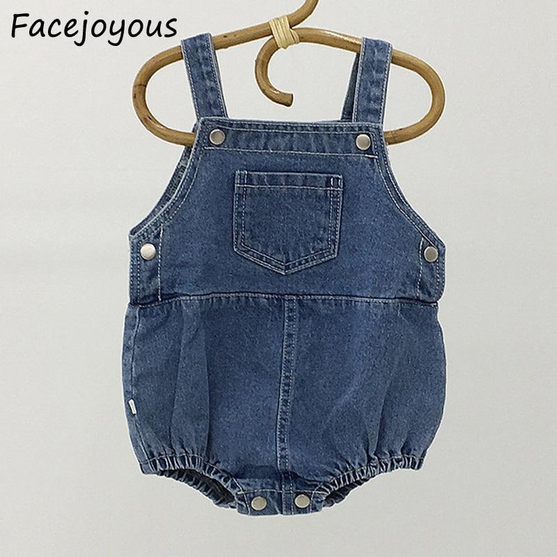 Newborn Baby Sleeveless Bodysuits Infant Kids Pocket Denim Overalls Baby Girl Boy Clothes Fashin Bodysuit Onesie Baby Clothing