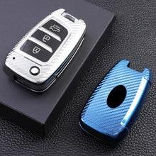 Fibra de carbono tpu caso capa chave do carro titular saco chaveiro para hyundai solaris 2 elantra i30 i35 i40 tucson kona azera acessórios
