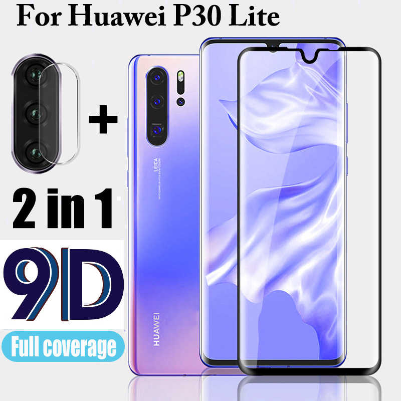 2 in 1 9D Protective Glass for Huawei P30 Lite Screen Protector Camera Lens Film P30 light P 30 30lite P30lite Tempered Glass