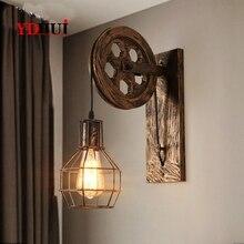 Lámpara de pared Led de hierro para desván, lámpara de pared decorativa Vintage, luces de pared para interiores, iluminación Industrial americana para hogar, luz de pared de polea de elevación