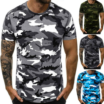 New Summer Fashion Camouflage T-shirt Men Casual O-neck Cotton Streetwear T Shirt Men Gym Short Sleeve T Shirt Tops fashion summer women camouflage loose t shirt short sleeve casual ladies tops summer bandage hollow out t shirt tops