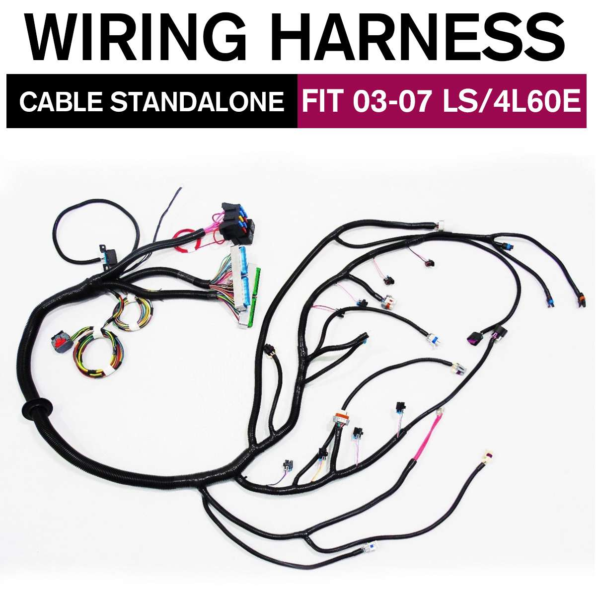 03-07/97-06 Engines VORTEC STANDALONE LS2/DBC LS1 WIRING HARNESS W/4L60E Drive By Wire 4.8 5.3 6.0 Multec Harness