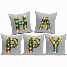 1pc 45x45cm 26 Letters LED Night Light Pillow Cover Black and White Pillow Case Chair Pillow Cover Creative Home Decor Supplies недорого