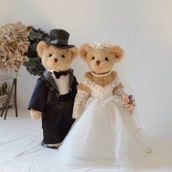 cute Full joint movable teddy bear plush toy stuffed animals White Wedding dress dolls Valentine Wedding gift Wedding decoration