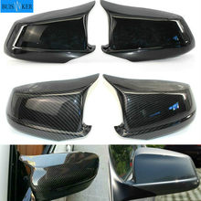 Pair Black/Carbon Fiber Look Rearview Mirror Caps Car Door Wing Mirror Cover Replacement For BMW F10 5-Series 2011-2013 Pre-LCI