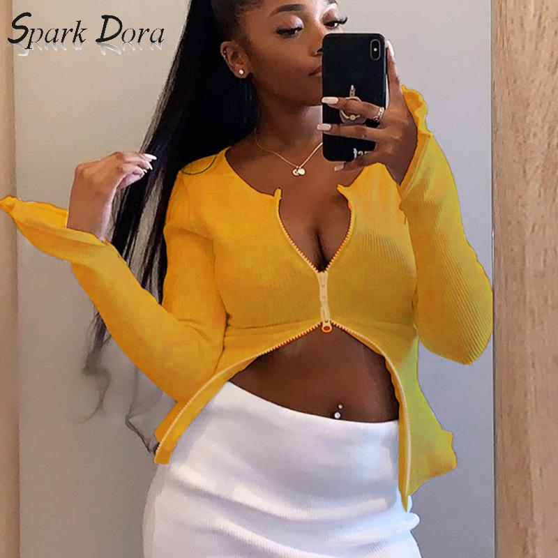 SparkDora InstaHot Sexy Zipper Up Ribbed Knitted Long Sleeve Strech Irregular Casual Sexy Women Autumn Cardigans Tops Streetwear