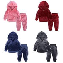 Suit Baby-Boy Coat Pants Hooded Toddler Girls Kids Velvet Jacket for 1-4y/baby