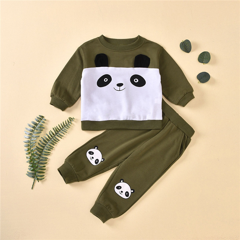 HIPAC 2pc Kids Outfits Clothes Set for Boy Girl Toddler Children Outfit Boys Girls Clothing Suit Patchwork Panda Sweater Pants