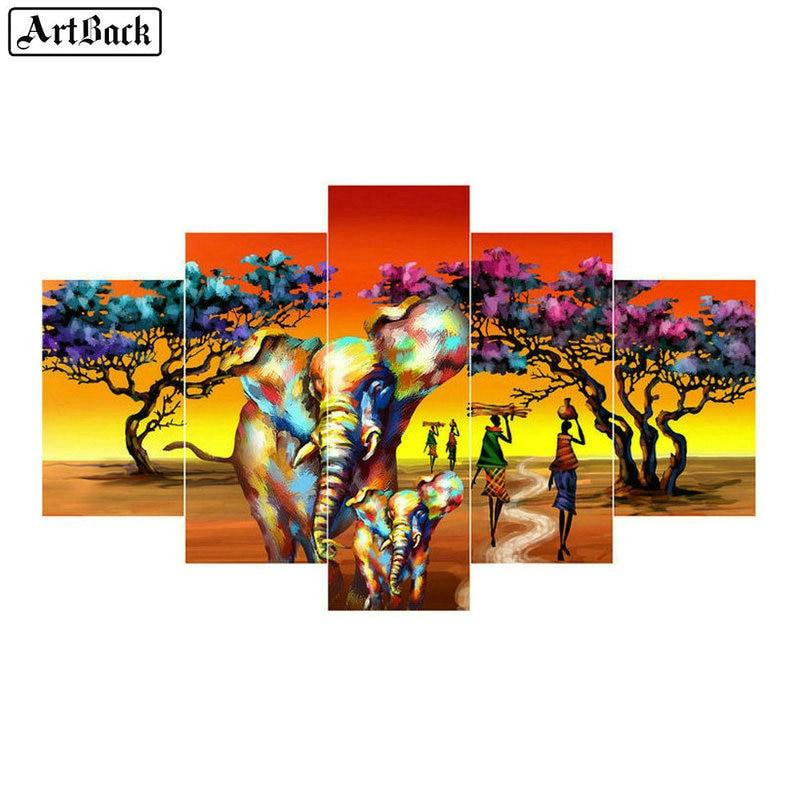 Cinq sort diamant peinture éléphant africain automne paysage plein carré 5d diamant mosaïque broderie salon décoratif