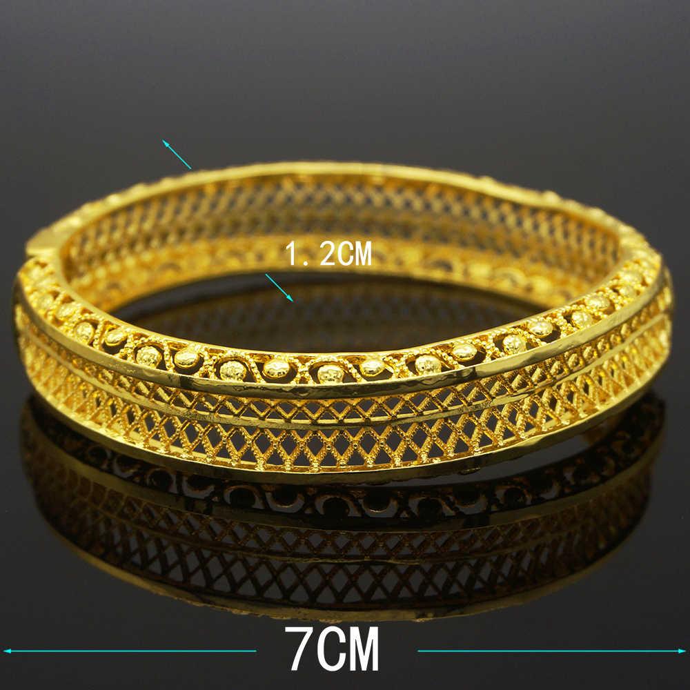 24 K Gold Perhiasan Gelang untuk Wanita Dubai Gelang Gelang & Gelang Afrika Penyiangan Perhiasan Hadiah
