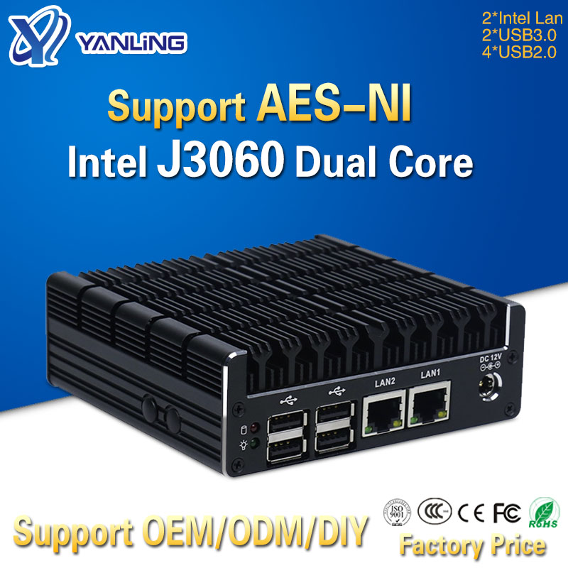 Yanling Latest Intel J3060 Fanless Mini PC Dual Gigabit Lan NUC Case Barebones Computer Linux Support 2 HDMI AES-NI Pfsense VPN