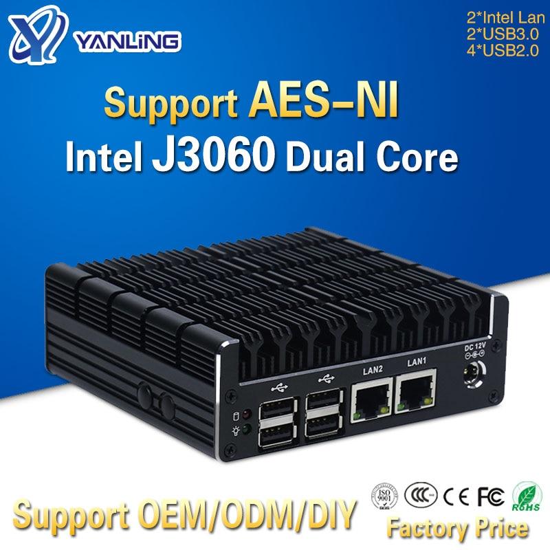 Yanling Latest Intel J3060 Fanless Mini PC Dual Gigabit Lan NUC Case Barebones Computer Linux Support 2 HDMI AES-NI Pfsense VPN