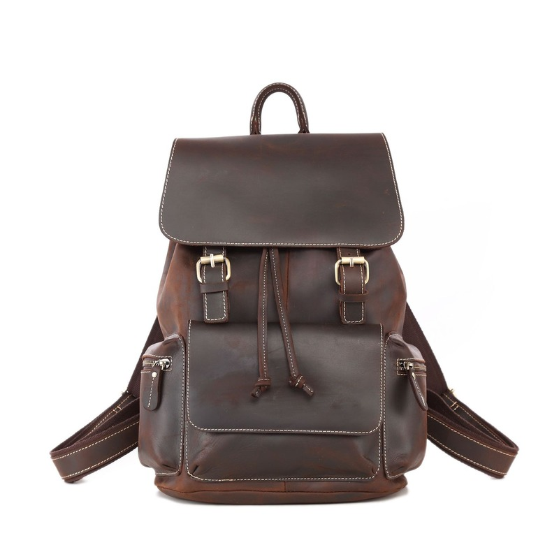 New Backpack Crazy Horse Leather Male's Bag  Fashion Retro Men's First Layer Cowhide Handmade Business Casual Bags Men For 8906