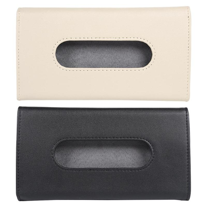 PU Leather Car Sun Visor Tissue Box Holder Sunshade Out Of Sight And Stable Easy Installation Paper Napkin Storage Cover