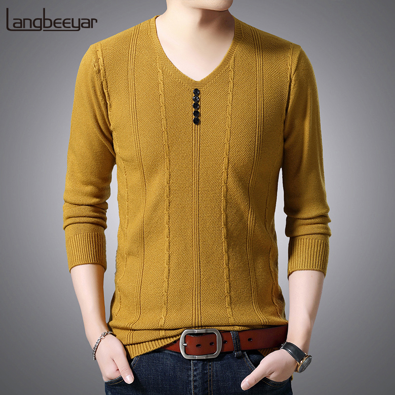 2019 New Fashion Brand Sweaters Mens Pullover V Neck Slim Fit Jacquard Jumpers Knitting Winter Korean Style Casual Clothing Men