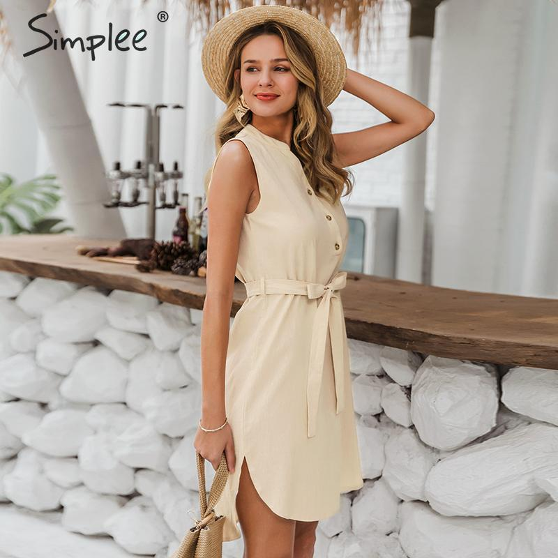 Image 4 - Simplee Sleeveless women spring dress Elegant v neck solid single breasted mini dress Summer lady cotton chic belt office dressDresses   -