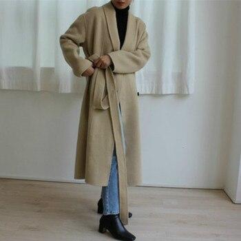 Korea Women Winter Yellow Long Cashmere Coat Slim Waist Elegant Overcoat with Waistbelt Pocket Loose Outerwear Jacket 4