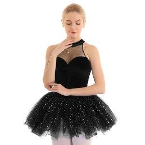 Image 4 - Mulheres vestido de ballet tutu bailarina Brilhante Lantejoula tutu de balé Vestido de Tutu de Balé De Dança Collant Sem Mangas Keyhole Voltar Corpete De Veludo