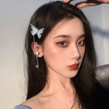 MENGJIQIAO New Korean Yarn Butterfly Hairpins Elegant Metal Tassel Long Hair Clips For Women Fashion Party Hair Accessories 1