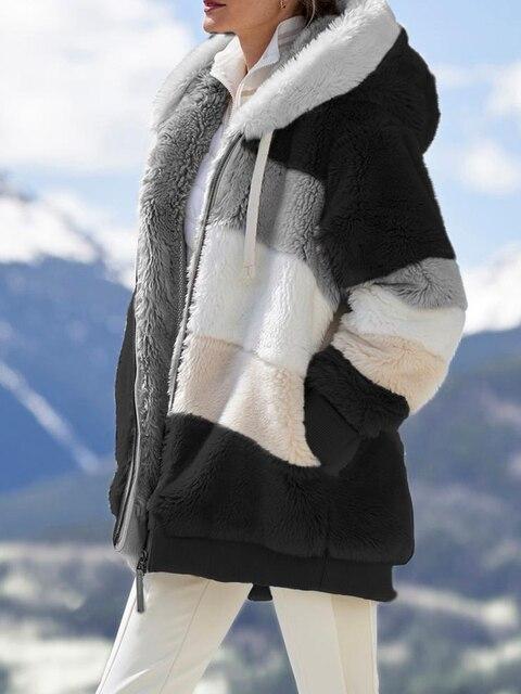 2020 Winter Women's Coat Fashion Casual Stitching Plaid Ladies Clothes Hooded Zipper Ladies Coat Lamb Hair women jacket 1