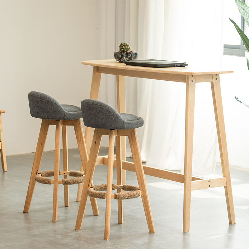 Nordic Wood Bar Chair Modern High Foot Chair Stool Household Originality  Light Extravagant Nordic Furniture For Sale