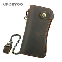 GROJITOO 2020 New Genuine Leathe Rfid Mobile Phone Bag Crazy Horse Leather Men's Wallet Cowhide leather large capacity Bag