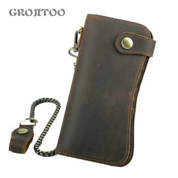 GROJITOO 2020 New Genuine Leathe Rfid Mobile Phone Bag Crazy Horse Leather Men\'s Wallet Cowhide leather large capacity Bag - DISCOUNT ITEM  47 OFF Luggage & Bags