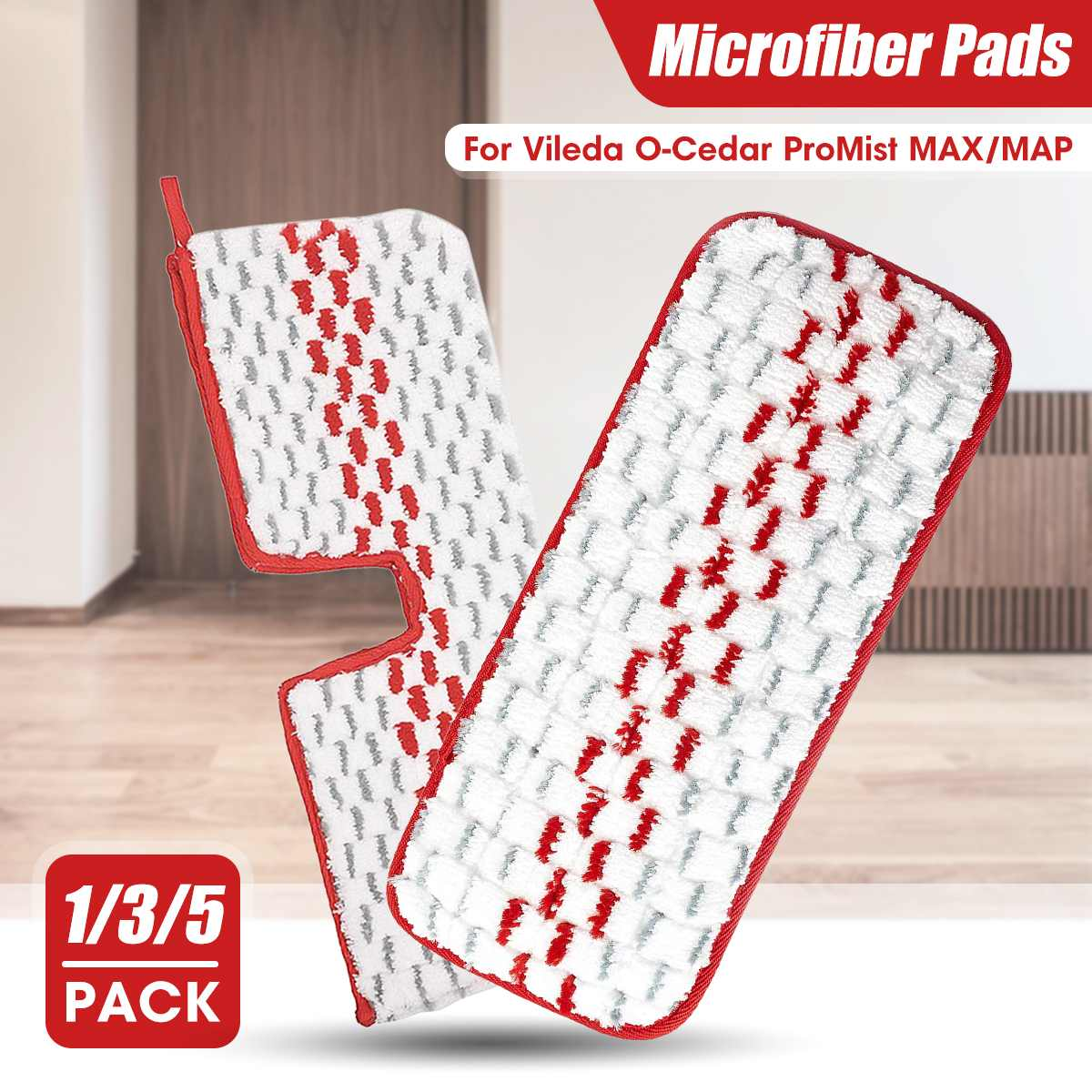 5pcs Floor Mop Reusable Microfiber Pads Wet Dry Cleaning Tools Replacement Paste Cloth Cover for Vileda O-Cedar ProMist MAX/MAP