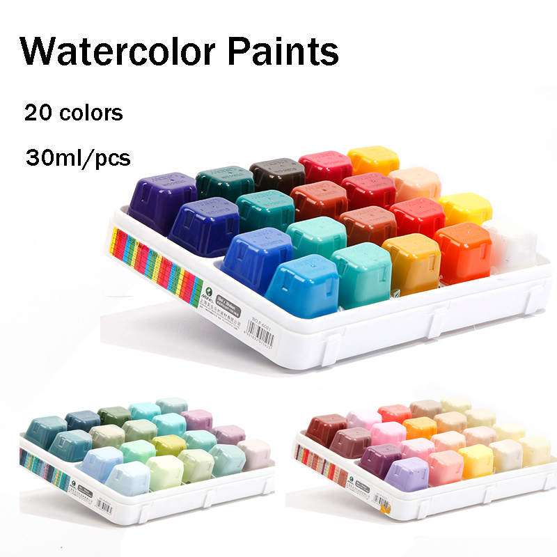 Jelly Gouache Watercolor Paint Set 20 Colors 30ml Advertising Picture Gouache Paint Art Supplies