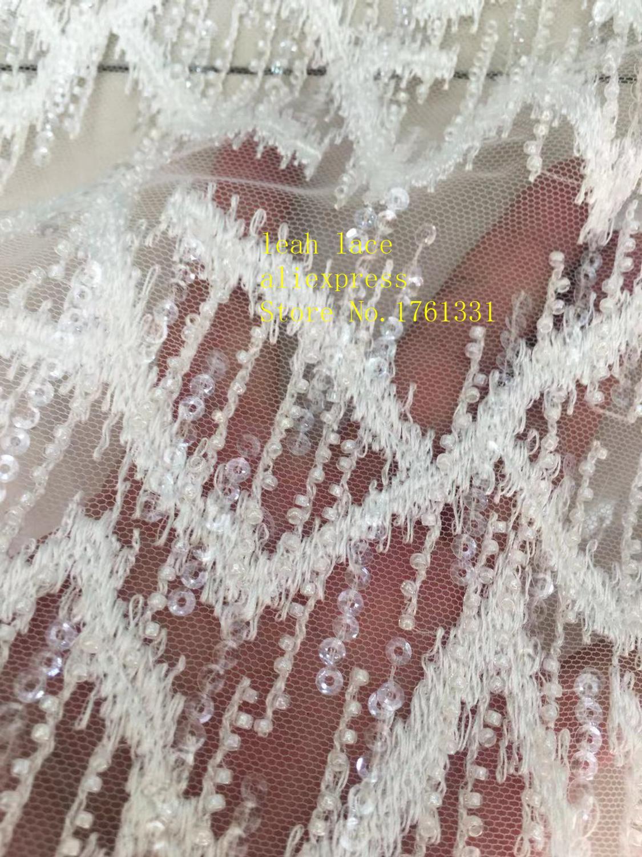 5 yards/sac blanc broderie paillettes bricolage perles style euraméricain tissus de luxe utilisés dans la conception de la robe de mariée FH19 #